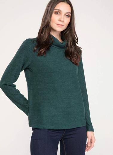 DeFacto Basic Uzun Kollu Boğazlı T-shirt Yeşil